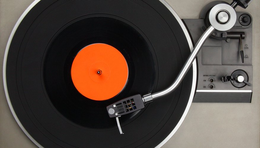 Bird's eye view of record player.