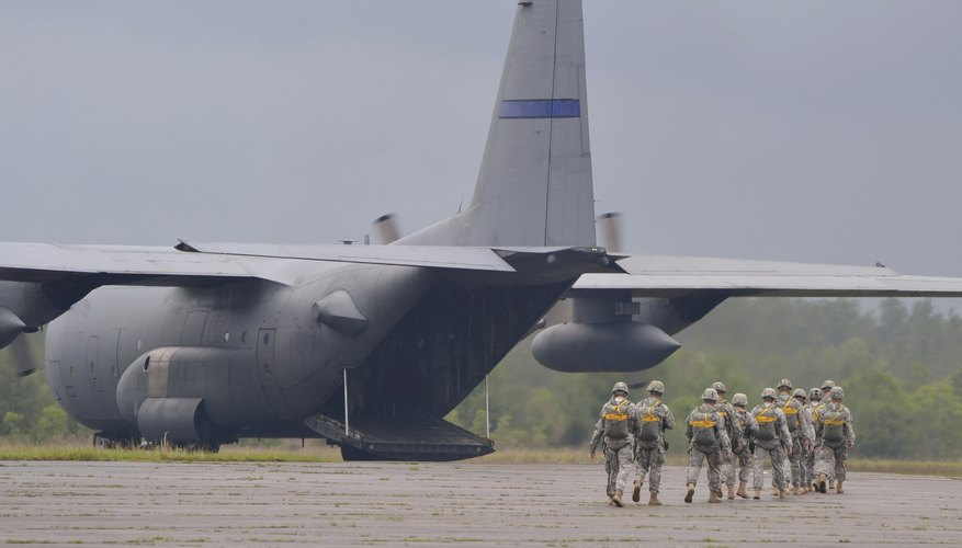 Troops deploying on a C130.