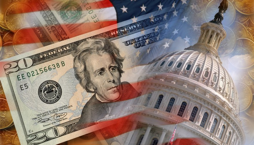US Flag, the Capitol, and American money.