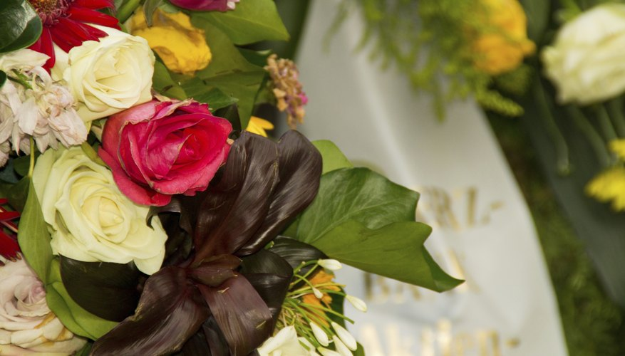 A bouquet of flowers at a funeral.