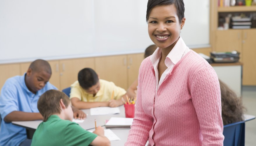 Teacher smiling in classroom