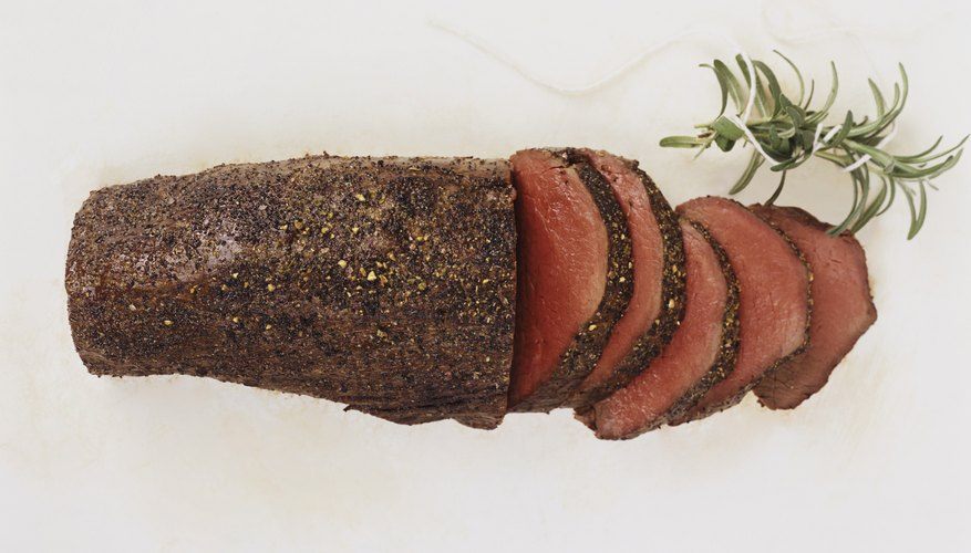 The brisket is usually sliced for serving.