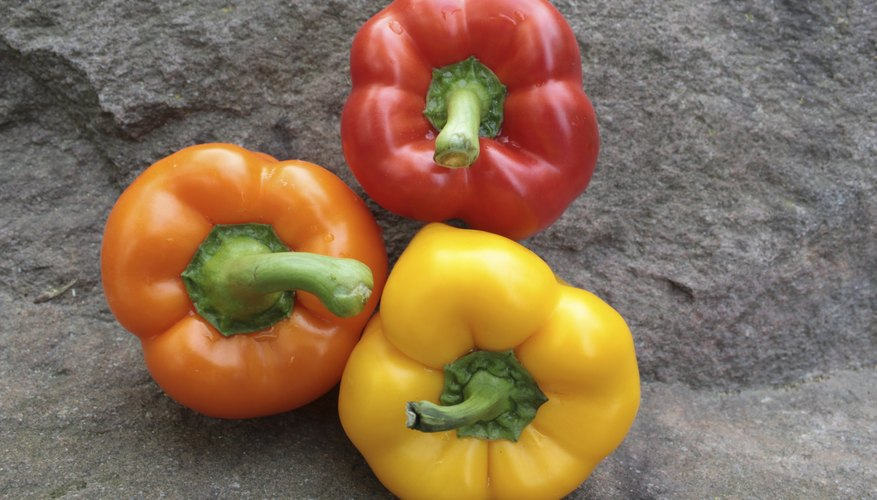 Three colored bell peppers.