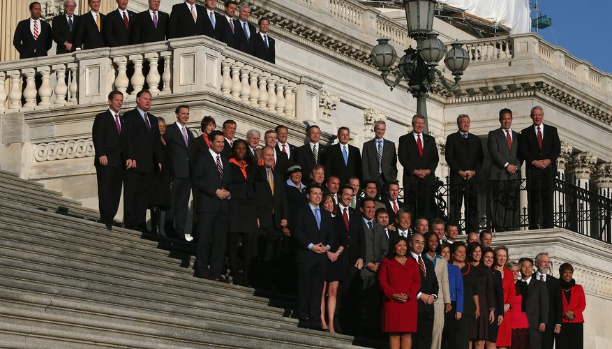 Newly elected Congressional members standing on the steps of a government building.