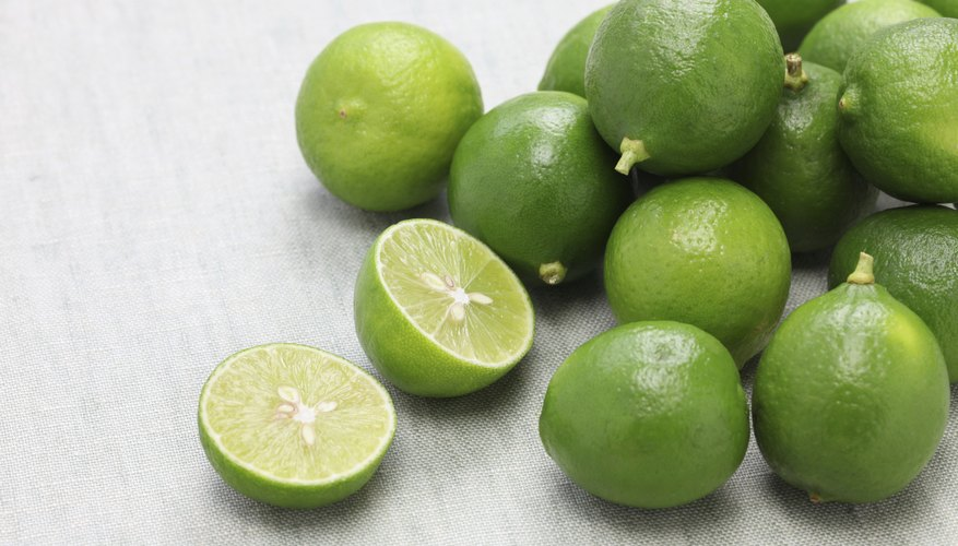 Fresh key limes on a table.