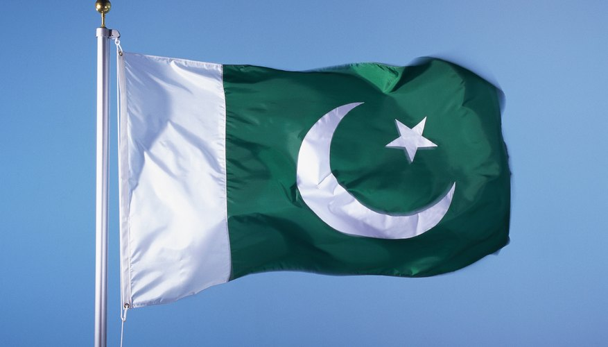 Pakistan flies the symbol of Islam, a crescent moon and star.