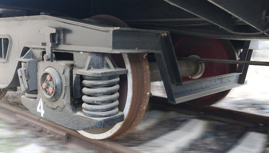 A train's suspension system.