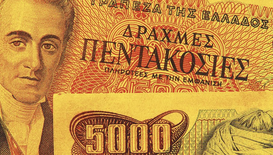 Before Greece switched its currency to the Euro, its drachma still bore ancient Greek lettering.