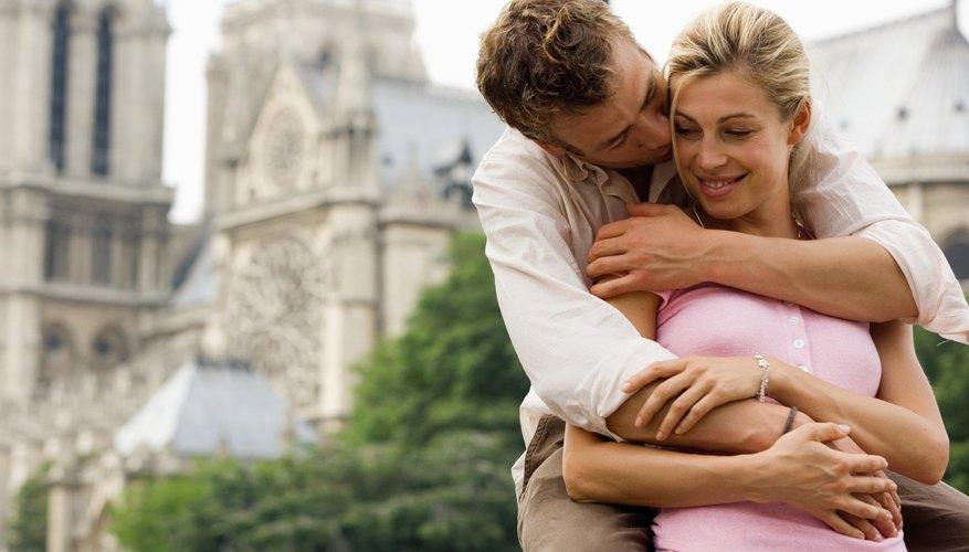 Man hugging young girlfriend.