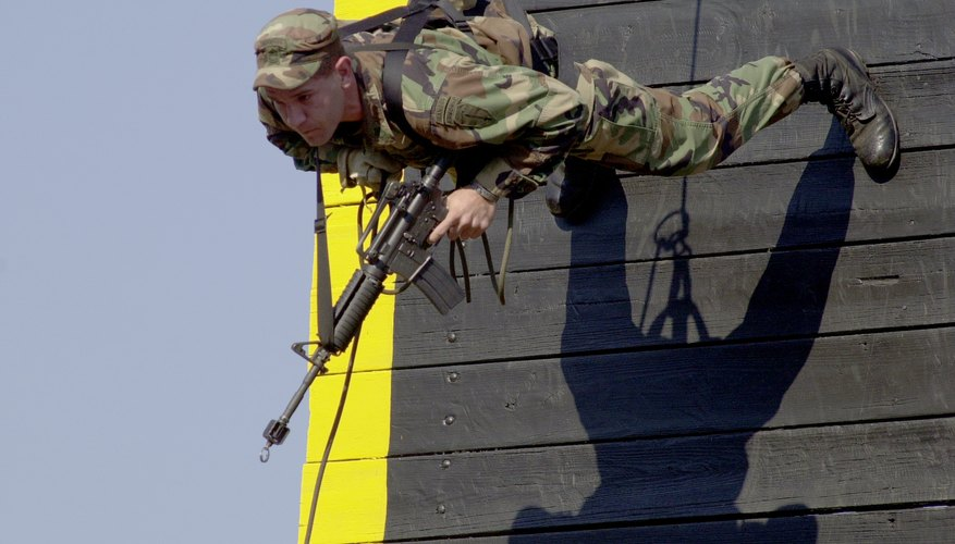 U.S. Army Ranger rappels down tower