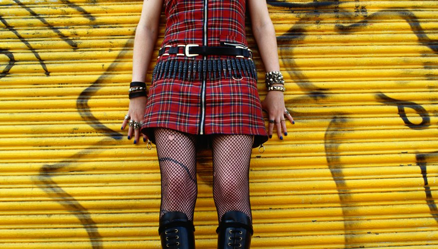 Mix a little plaid with some leather pieces for a classic punk look.