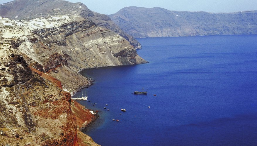 Mountains and the Mediterranean Sea make up most of the Greek world.