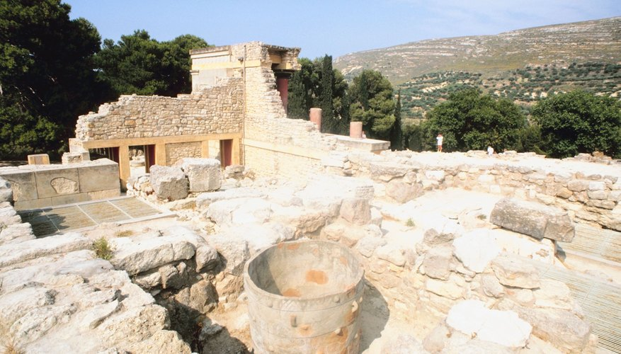 The Minoans built the palace of Knossos whose ruins are on the island of Crete.