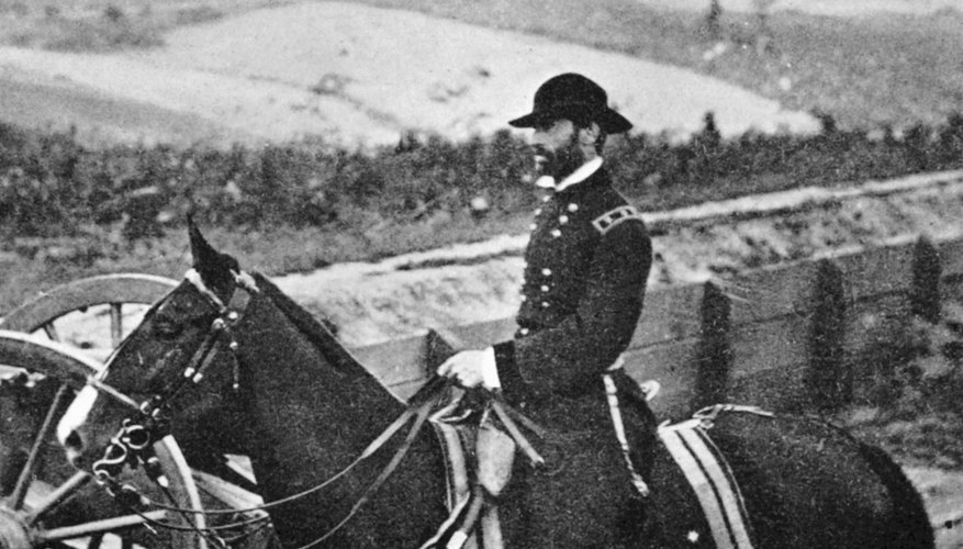Union Gen. William T. Sherman is shown on horseback in 1864. The Union's combined strength of infantry and cavalry helped win the war for the North.
