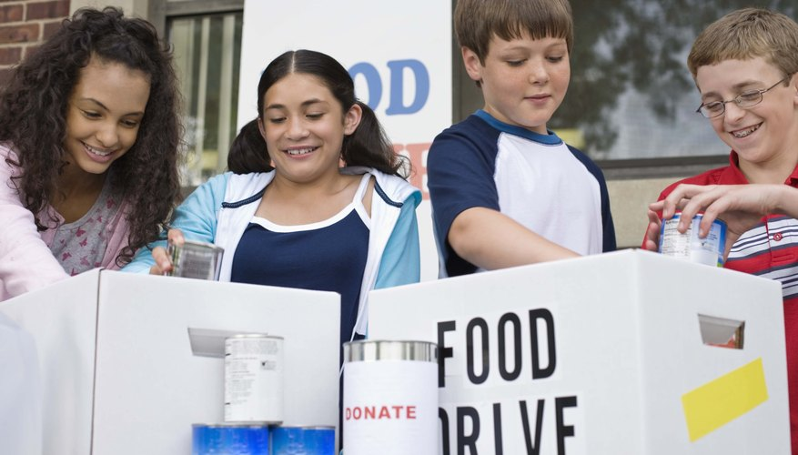 Encourage kids to participate in penny contests, food drives and eyeglass collections.