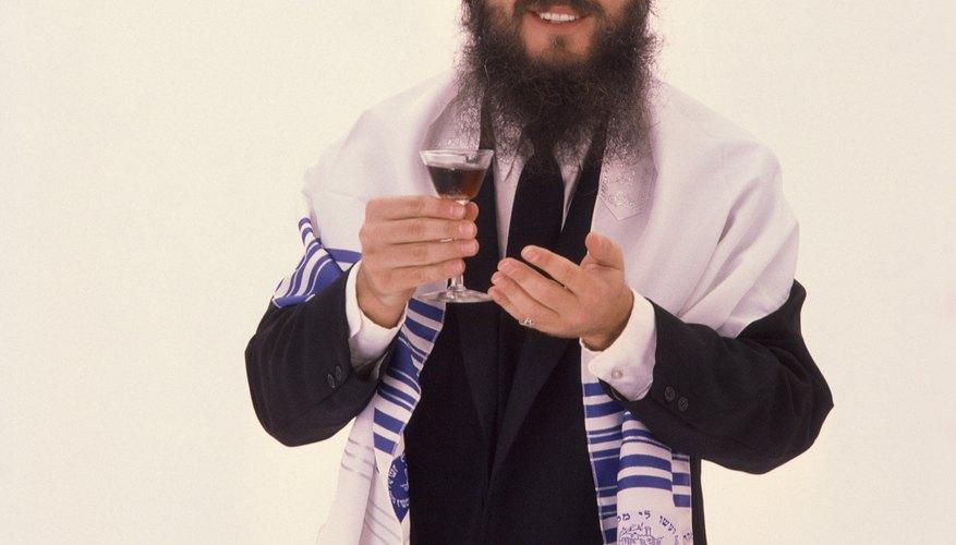 A rabbi wearing a prayer shawl.