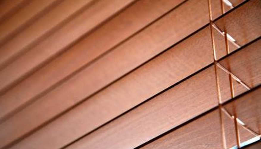 Wood blinds provide shade from outside light.