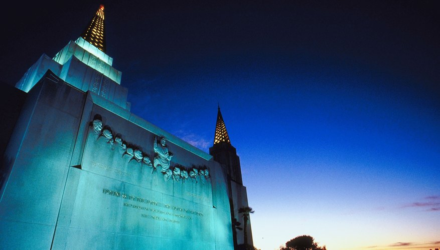 A Mormon temple in Oakwood, Calif.