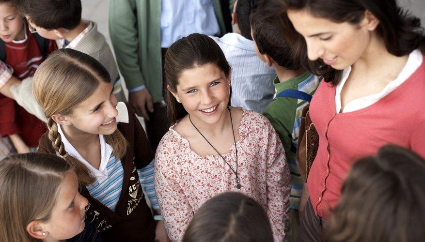 Teacher speaking with children.
