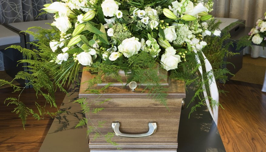 A coffin in a funeral home.