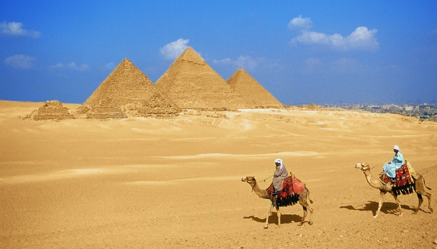 Researchers believe skilled workers, not slaves, built the pyramids at Giza, Egypt.