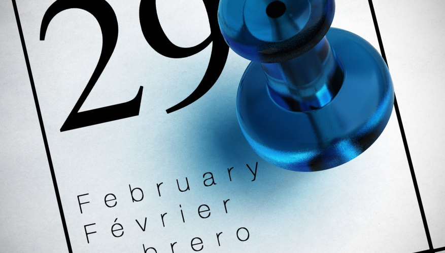 A leap year typically happens every four years.