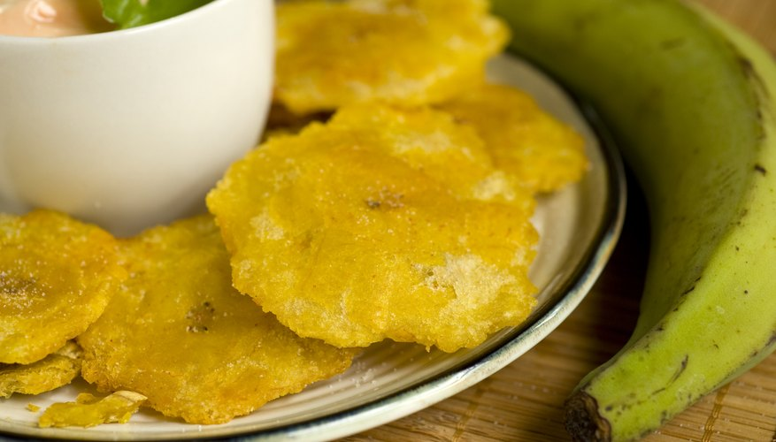 Tostones, made of fried green plantains.