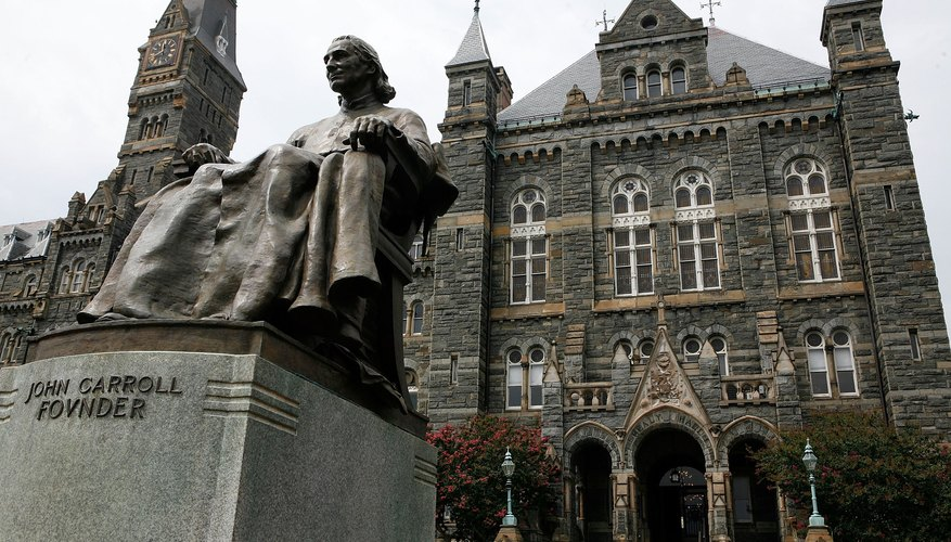 While in exile, John Carroll founded Georgetown University as a Jesuit institution.