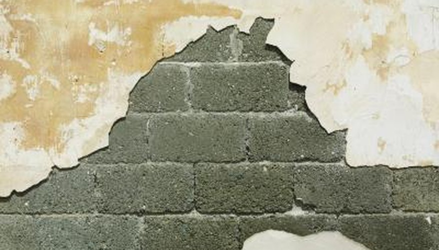 A breeze block wall in need of repointing.