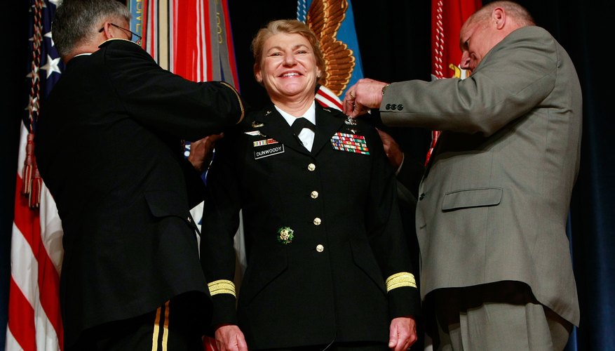 General A. Dunswoody being promoted to four-star general.