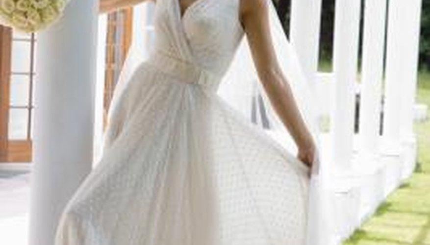 Make a beautiful evening gown by dying a contemporary-style wedding dress