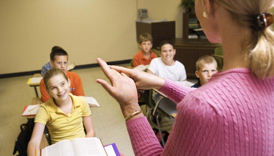 Teacher explaining to students