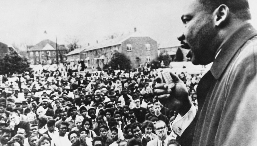 Martin Luther King Jr.,  speaking to crowd at civil rights march