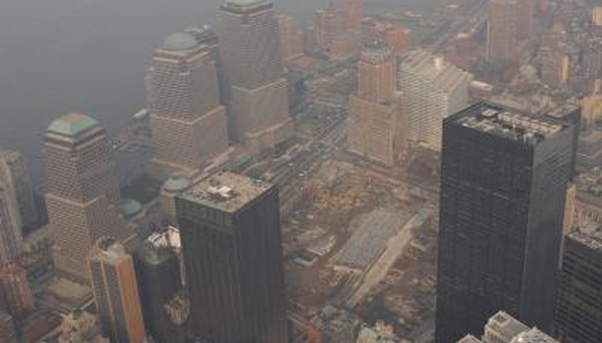 Photochemical smog forms above large cities such as New York.