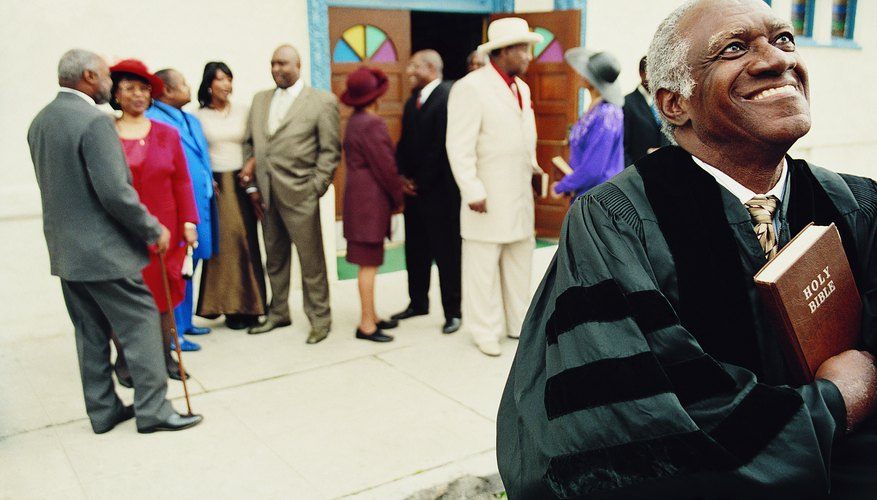 Church members outside church.