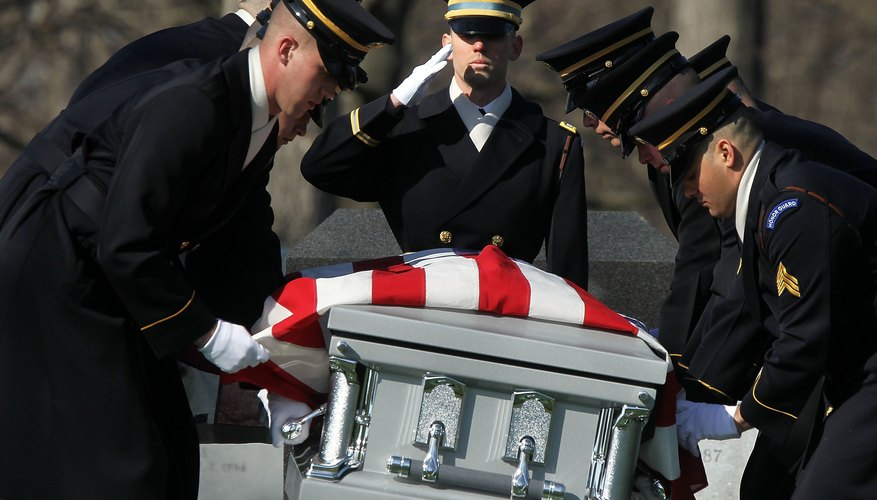 The flag code does require that the flag never touch the ground, so the flag should drape a casket only when it is being viewed.