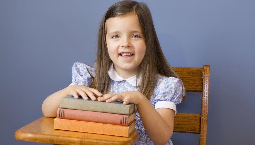 A third grade girl in class.