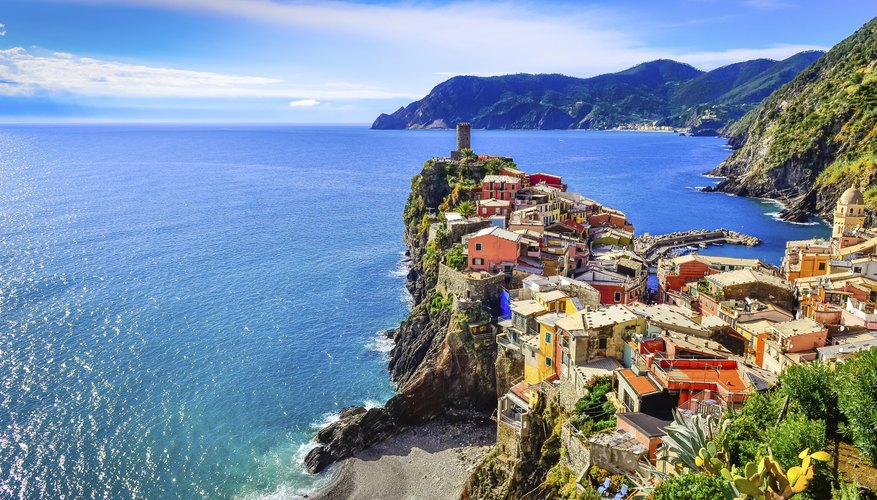 View of coastal village of Vernazza on the coastline of Cinque Terre, Italy