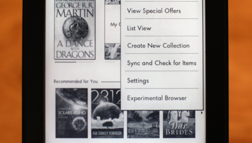 The Kindle settings menu lets you link your device to a Facebook account.
