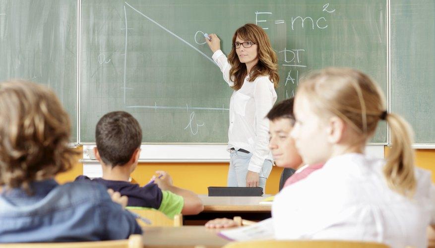 An elementary school teacher and her pupils.