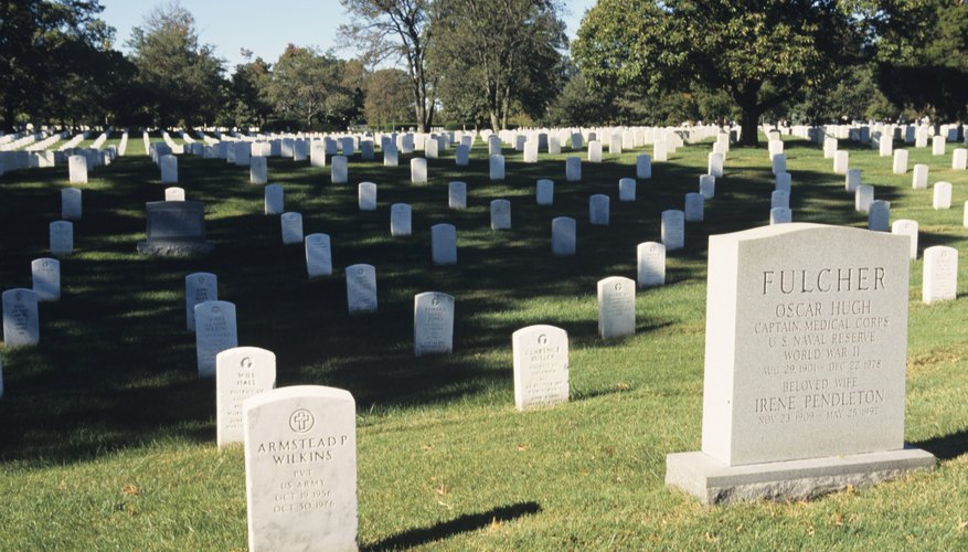 Arlington National Cemetery uses upright marble headstones.
