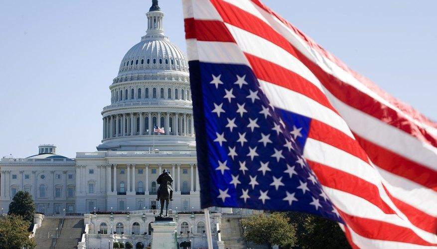 An American flag is flown upside-down at a anti-war rally in Washington D.C.