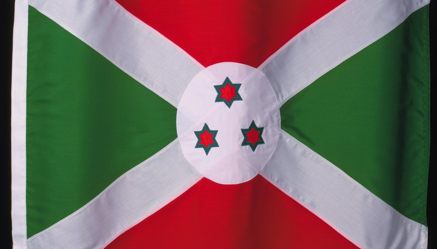 The three stars on the flag of Burundi represent the Hutu, the Tutsi and the Twa.