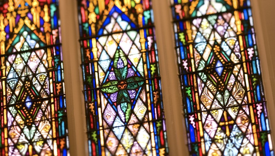 Stained glass is a common sight in Catholic, Lutheran and Presbyterian churches.