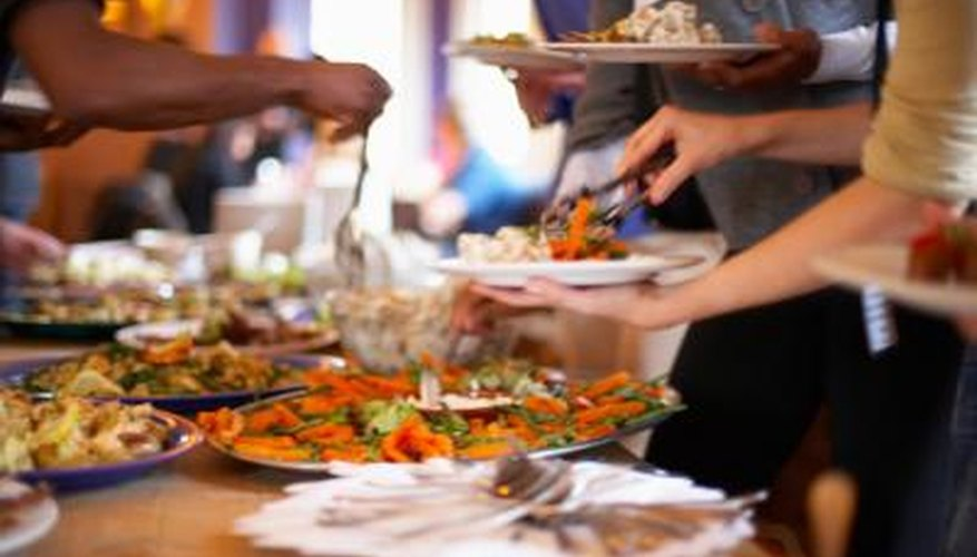 Potluck parties are a great way to sample different types of foods.