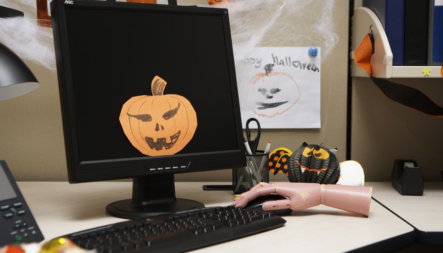 Office with Halloween decorations