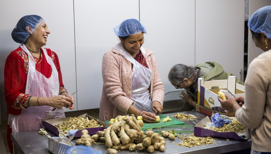Chefs peeling fresh ginger roots in the kitchen of a Hare Krishna Temple.
