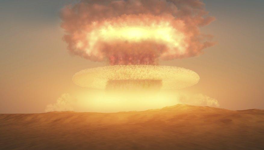 Nuclear explosion mushroom cloud.
