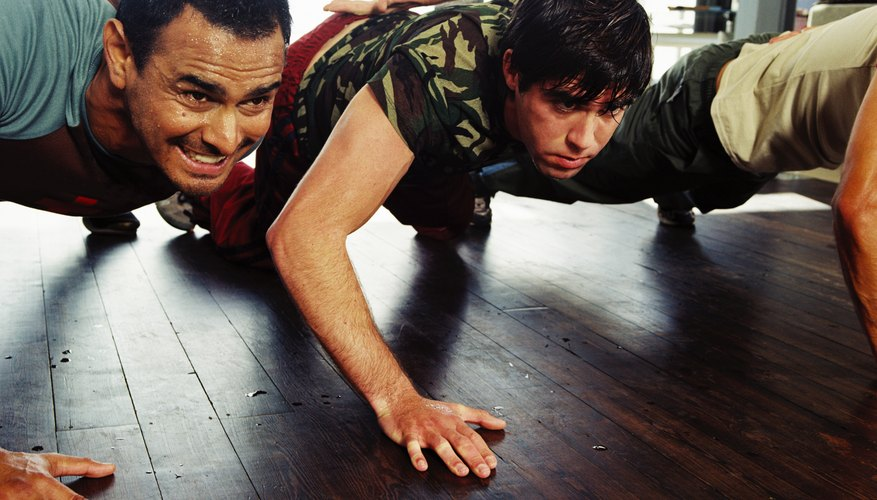 Soldiers doing push ups