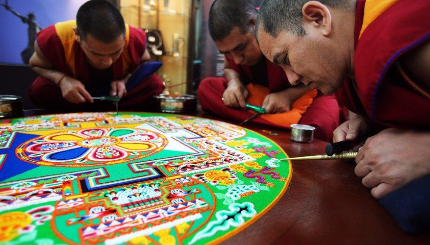 Tibetan monks completing a mandala